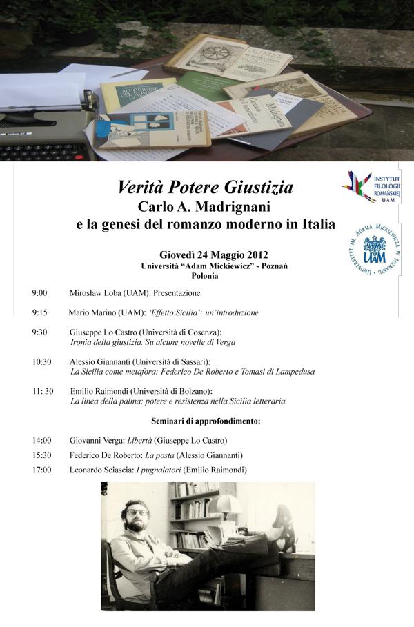 Verità Potere Giustizia Carlo A. Madrignani e la genesi del romanzo moderno in Italia