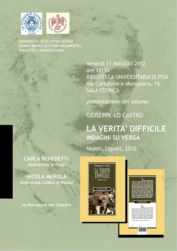 """Presentazione del volume """"La verità difficile"""" di Giuseppe Lo Catro"""
